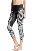 Women Black and White Octopus Print Fitness Quick Dry Exercise Leggings High Waist Mid Calf Energy Pants Trousers Ropa Mujer