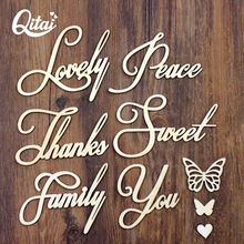 QITAI 28Pcs/Lot High-Quality Wood Word Family Thanks Lovely Sweet You Hollow Solid Butterfly Creative Home Decorations WF263