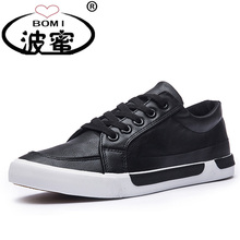 New Fashion Shoes Men Brand Soft Leather Men's Casual Shoes Male Classic Black White Shoes K017(China)