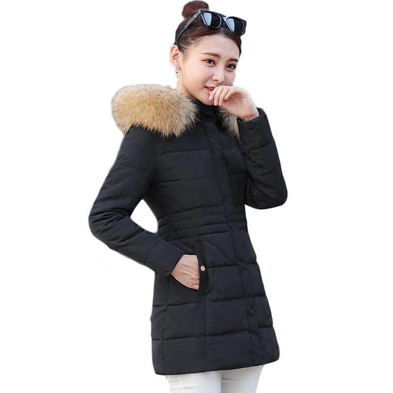 Winter large fur collar Coat Women Parka Long Thick Slim Coats women Jackets Outerwear cotton padded windproof coat RE0061Îäåæäà è àêñåññóàðû<br><br>