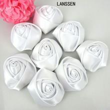12Pcs White Satin Rose Flowers Handmade Stain Rolled Rosettes Appliques For Craft Wedding Hair Accessories 3.5cm