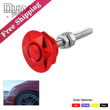 Free shipping Universal Aluminum Push Button Billet Hood Pins Lock Clip Kit Car Quick Latch/ Engine Bonnets Lock HL012(China)