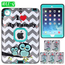 For iPad mini 1/2/3 Cover Shockproof Kids Protector Case PC + TPU Hybrid Robot Protect Screen Protector Film+Stylus Pen