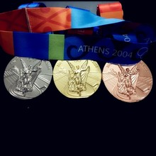 2004 Athens Medal Coin Gold Medal Silver Medal Copper Medal Coin with Lanyards MIX 3pcs/lot Copy