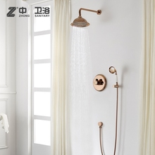 New Style Rose gold Solid brass bathroom wall mounted shower faucet Round Cold and hot water mixing valve shower set(China)