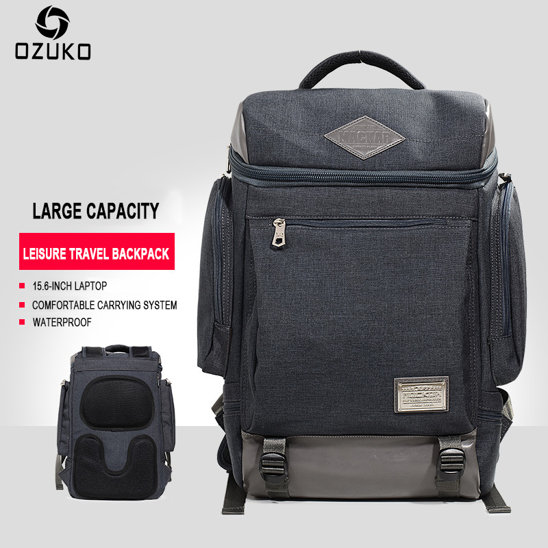 OZUKO Fashion Mens Backpack Casual Trend Student School Bag Waterproof Travel 15 Inch Laptop Bag for male Mochila 2018 New<br>