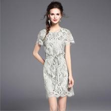 2017 New Summer Stitching Tied Drawstring Tassel Lace Dress Female Casual Clothes American Fashion Office Cotton Dress Girls Hot(China)