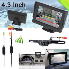 "July promotion, High quality, low price 4.3"" LCD Screen Car Rear View Backup Mirror Monitor + Wireless Reverse Camera Kit(China)"
