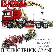 Lepin 20013 1877pcs Technic Ultimate Mechanical Series The Electric Crane Truck Set Building Blocks Bricks Funny Gifts Toys 8258(China)