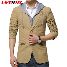 LONMMY 2016 New Hoodies blazer men suit Fashion Slim fit Mens suit jacket blazer Casual Hooded blazers for men Jaqueta masculina