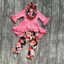 FALL/Winter 3 pieces coral scarf set children baby girls floral flower ruffle cotton dress top silk milk pants boutique clothes(China)