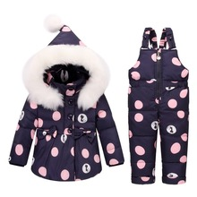 Winter Baby Girls clothing Sets Warm Children Down Jackets Kids Snowsuit baby Ski suit Girl's down Jackets Outerwear Coat+Pants(China)