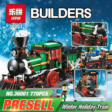 Lepin 36001 770Pcs Creative Series The Christmas Winter Holiday Train Set 10254 Building Blocks Bricks Boy`s Toys Christmas Gift
