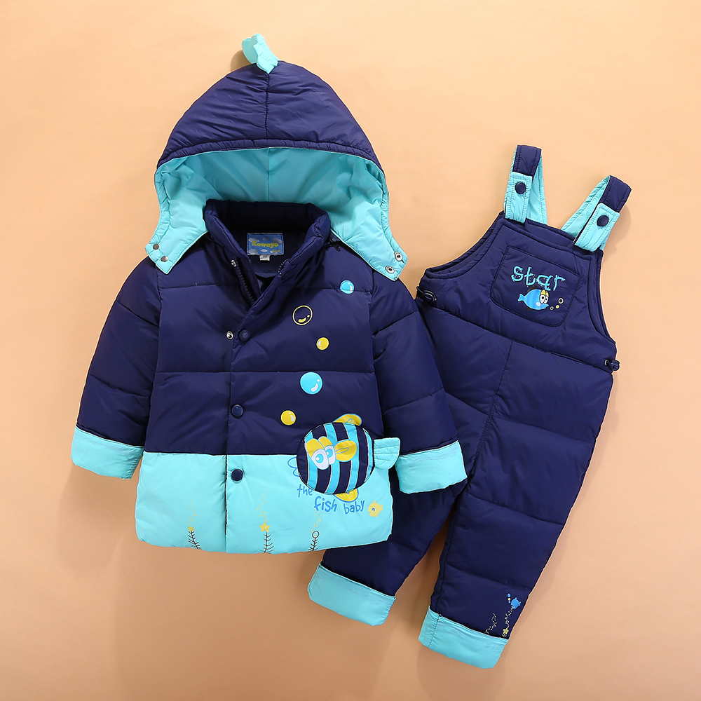 2017 Russian Winter Childrens Clothing Set Kids Overalls Baby Girls Boys Down Coat Warm Snowsuits Jackets+bib Pants Sets 1-4YrsÎäåæäà è àêñåññóàðû<br><br>