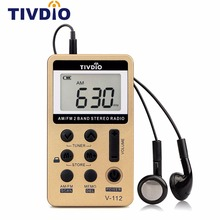 TIVDIO V-112 Mini Pocket Radio FM AM 2 Band Radio Receiver Digital Tuning with Rechargeable Battery & Earphone Best F9202C