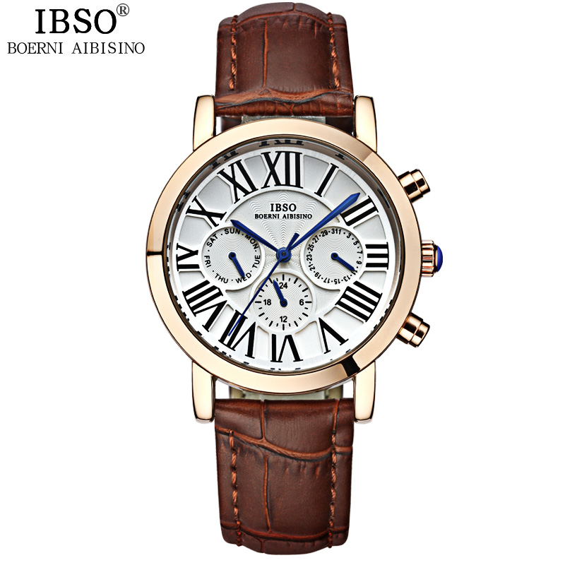 IBSO Mens Watches Top Brand Luxury Stainless Steel Calendar Multifunction Watch Men Genuine Leather Band Quartz Watches 2017<br>