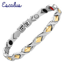 Germanium Link Chain Health Women Stainless Bracelet 4in1 Magnet Negative Ions Far Infra Red Gold Color Fashion Bangle Wristband(China)