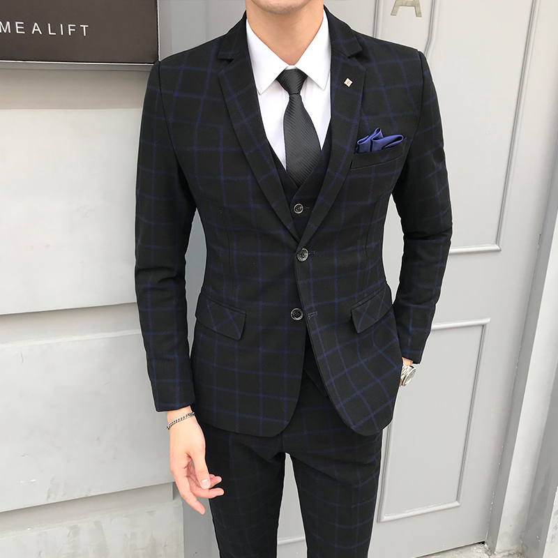 New 2018 Autumn Mens Suit (jacket+vest+trousers) England Style Plaid Casual Suit Jacket Male Fashion Wedding Goom Suit Men