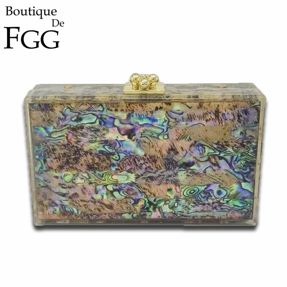 Natural Shell Multi Color Acrylic Evening Box Clutch Bag For Women Hard Case Party Dinner Chain Shoulder Messenger Handbag Purse<br>