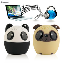 Kebidumei Mini Portable Cute Bluetooth Wireless Speaker Panda Dog Pig Music Voice Audio Player Gift for Child Girl(China)