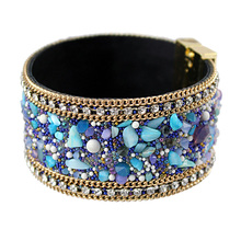 VONNOR Jewelry Fashion Women Leather Bangle Bracelet with Magnetic clasp Stones Bracelets Female Accessories