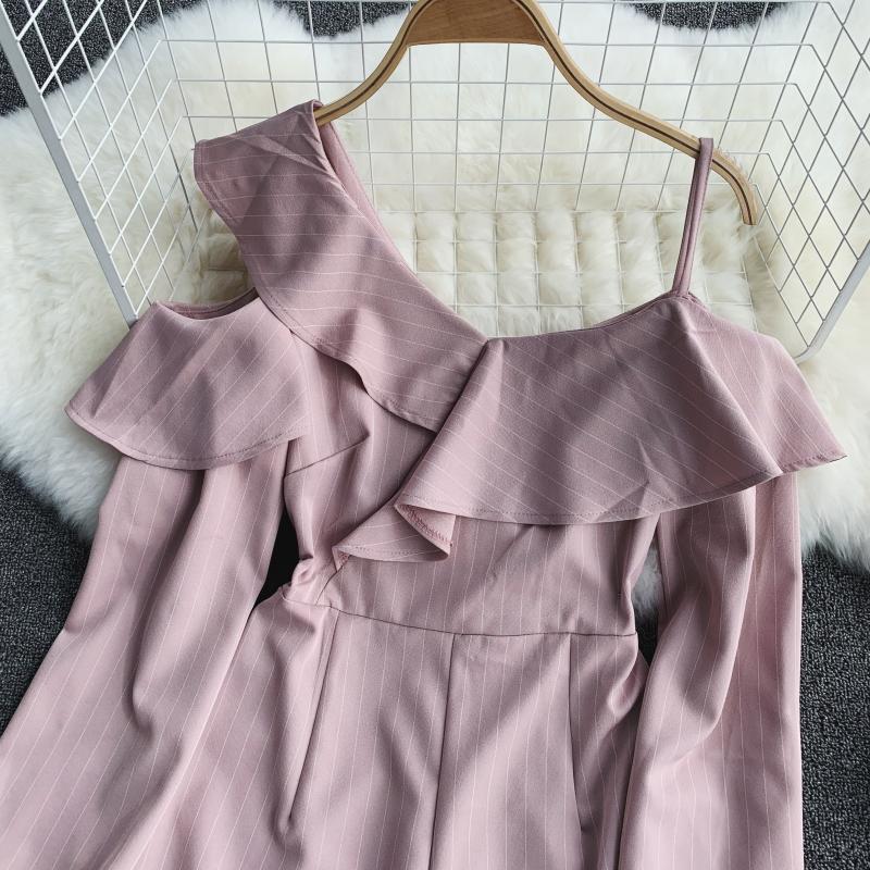 Spring Summer Jumpsuit for Woman Women's 2019 New Heart Machine Lotus Edge V-neck Long Sleeve High-waist Stripe Short Overalls 15