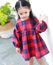Girl Princess Dress 2017 New Girls Cotton Plaid Dresses Fashion Girls Fall Dresses Elegant Cute Kids Autumn Clothing