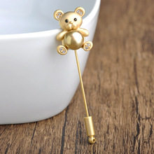 Korea Kawaii Cute Bear Brooches For Women Kid Simulated Pearl Crystal Silver Gold Broches Lapel Stick Pins Tie Clips Coat Spille