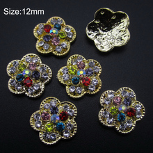 10pcs Gold flower alloy nail art tools 3d nail charms Scrapbooking products phone decorations AM262(China)