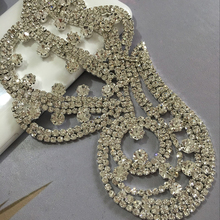 Rhinestone  Applique 1pcs peacock silver base 16X8cm sew on  applique  use for wedding dress ornament Free shipping