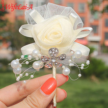 In Stock Hot Sale 1pcs/lot Ivory Wedding Corsages Boutonniere Groom Diamond Crystal Wedding Flowers Pearl Beaded Brooch Flowers