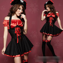 Halloween Red sexy Pirate Costumes Dress Up Buccaneer Uniforms Temptation Cosplay Outfit Take Artistic Photo Clothes B2769a