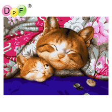 "DPF Frameless Oil painting digital ""Sleeping cat ""by numbers diy picture coloring on canvas handmade home decoration crafts gift(China)"