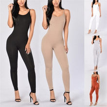 2a6c2793ab New Women Summer Slim Fashion Solid Color Overalls Tight Sleeveless Overalls  Sexy Tights Sling Jumpsuit(