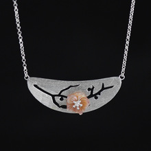 Natural Pink Shell Flower Statement Necklace for Women Flower Can Move Sterling Silver Jewelry(China)