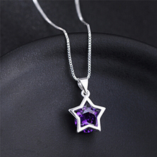 Crystal Pendant Necklaces for Women 42 cm Long Chain Jewelry Gifts Silver Plated Hollow Tone Star Zircon Necklace(China)