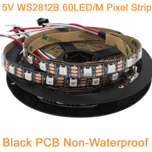 5m 5V WS2812B 60LED/M Dream Color RGB Pixel LED Strip Black PCB,Built-in WS2811 IC Individually Addressable IP20 Non-waterproof