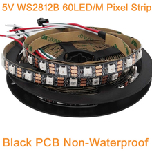 5m 5V WS2812B 60LED/M Dream Color RGB Pixel LED Strip Black PCB,Built-in WS2811 IC Individually Addressable IP20 Non-waterproof(China)