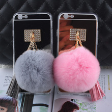 Fashion Soft Plush Gray Rabbit fur pompom Fluffy ball Tassel Mirror Phone case for iphone 5 6 6s 7 7 plus coverring back case