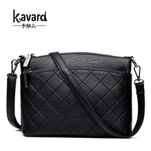 Kavard Women Messenger Bags Sac a Main Plaid Shoulder Bags Women Crossbody Bag Ladies High Quality Sheepskin Leather Handbags(China)