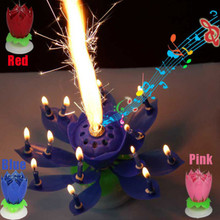 2015 Hot Sale Beautiful Blossom Lotus Flower Candle Birthday Party Cake Music Sparkle Cake Topper Candle