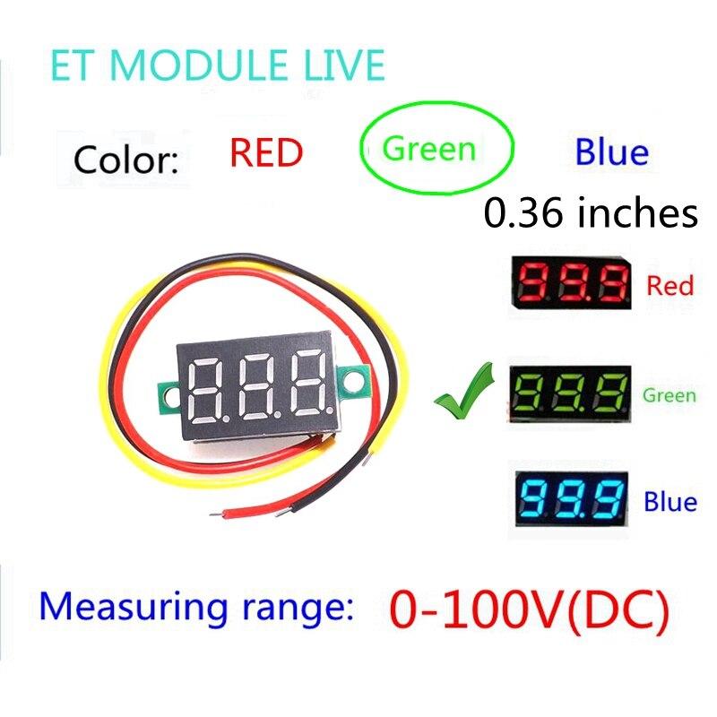 0.36 Digital Voltmeter DC 0V-100V Three Lines 3 digit Voltage Panel Meter Display led Color Green<br><br>Aliexpress