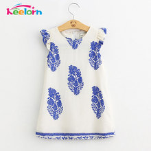Keelorn Girls Dresses 2017 Brand Princess Dress Kids Clothes Geometric Pattern Design Kids Dress for Girls Clothes 3-8Y
