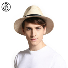 FS Mens Summer Sun Hats 2017 Fashion Woman Beach Large Brim Straw Panama Bowler Hat Visor Male Vintage Jazz Cap With Belt Cool(China)