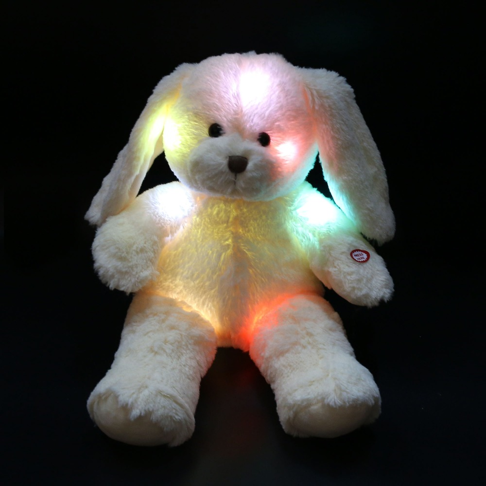 Free Shipping 45cm 1pcs Cute Easter Day Bunny Doll Night Glowing LED Rabbit Plush Toys Easter Gifts Birthday Gifts for Kids(China)