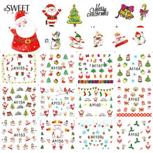 1Sheet Nail Art Stickers Christmas Water Transfer Nail Decals Beauty Xmas Manicure Decoration Tattoo Nail Art LAA1153-1164