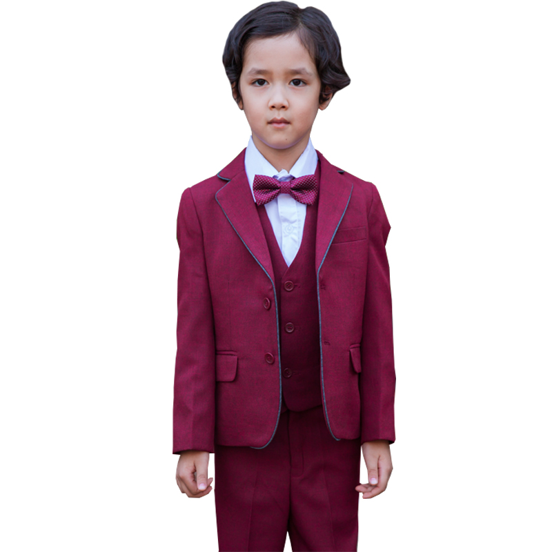 Boys Burgundy Suit for Wedding 3 Piece Formal Suit for Kids Clothing Boys Party Dress Terno Infantil Tuxedos Boys Clothes<br>