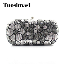 Fashion ladies bridal wedding rhinestone evening party clutch purse grey and white flower pattern chain bag(China)