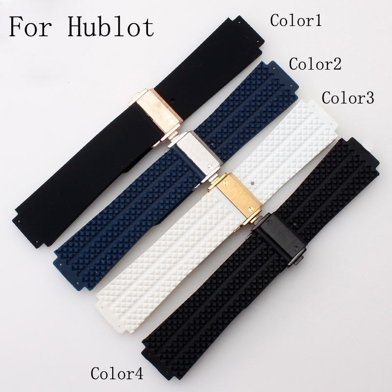 25*19mm Silicone Rubber Watch Strap Belt  Watchband For HUBLO Big Beng T Watch with Logo Deployment Clasp Double Push Buckle<br>