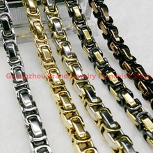 Mens Boys 8mm Box Byzantine Necklace or Bracelet Silver Gold Black Rose Gold Promotion 316L Stainless Steel Chain Gift Jewelry